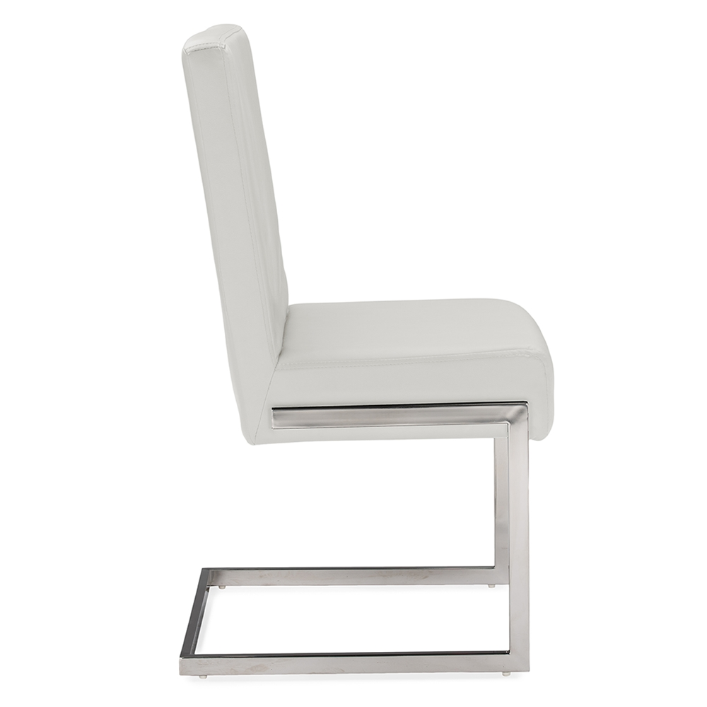 Modern Metal Dining Chairs baxton studio toulan modern and contemporary white faux leather