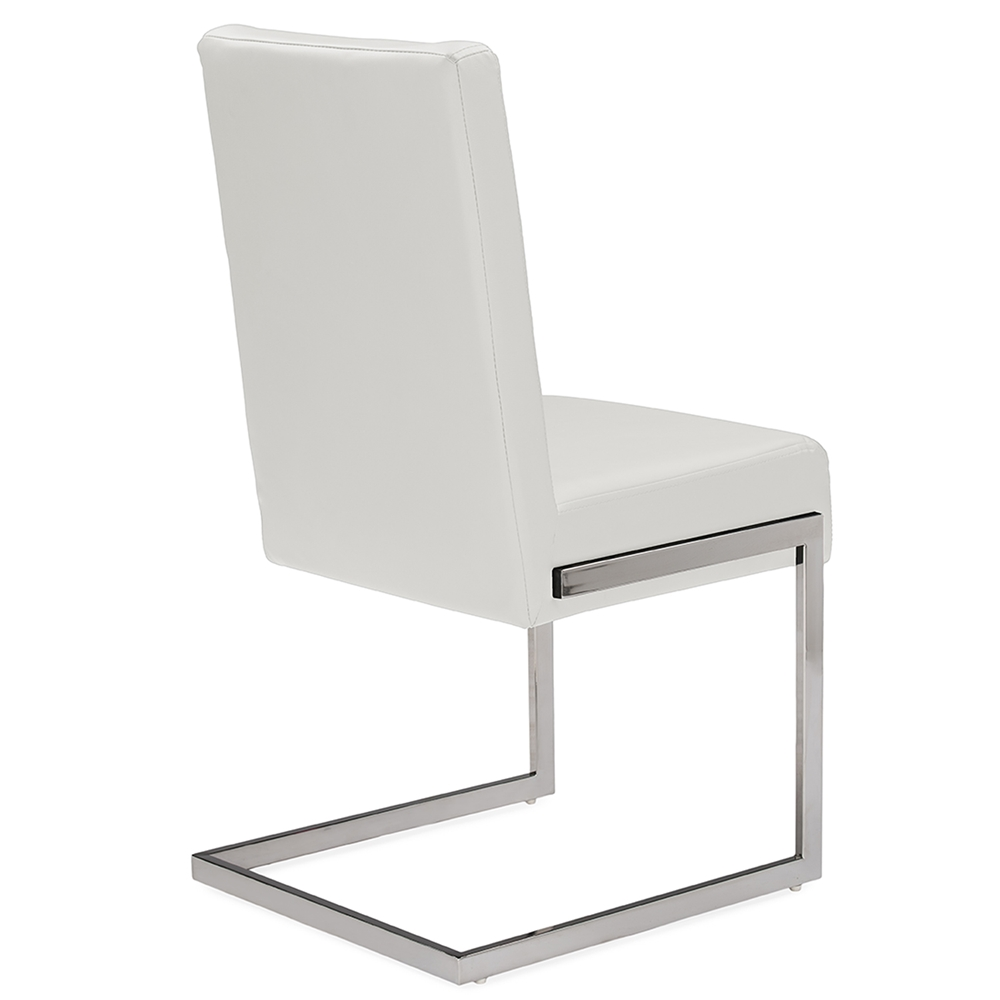 Baxton studio toulan modern and contemporary white faux for Upholstered dining chairs contemporary