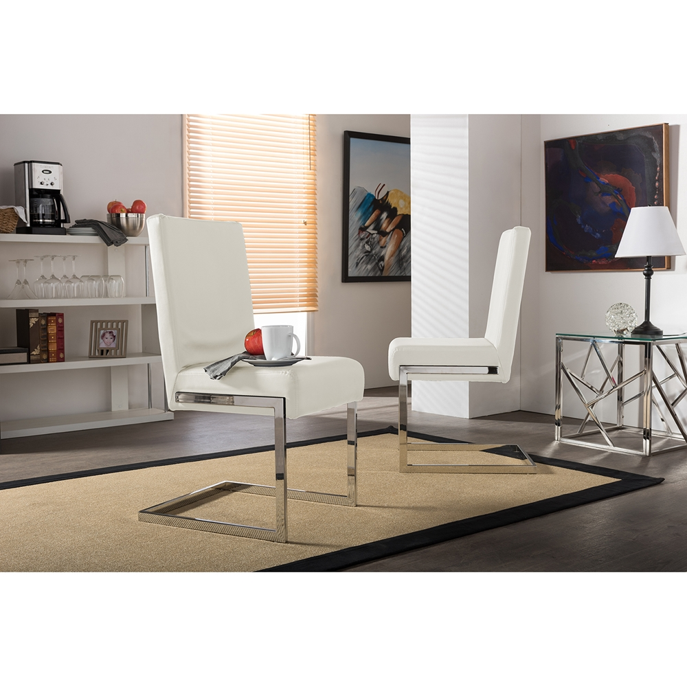 Baxton Studio Toulan Modern and Contemporary White Faux Leather ...