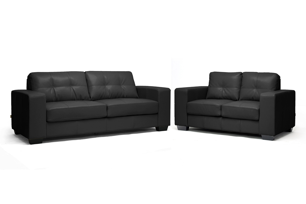 Whitney Black Leather Modern Sofa Set | Affordable Modern Furniture In  Chicago