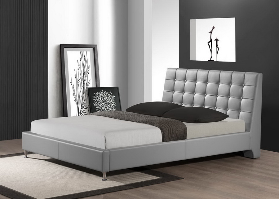 Baxton Studio Zeller Gray Modern Bed with Upholstered ...