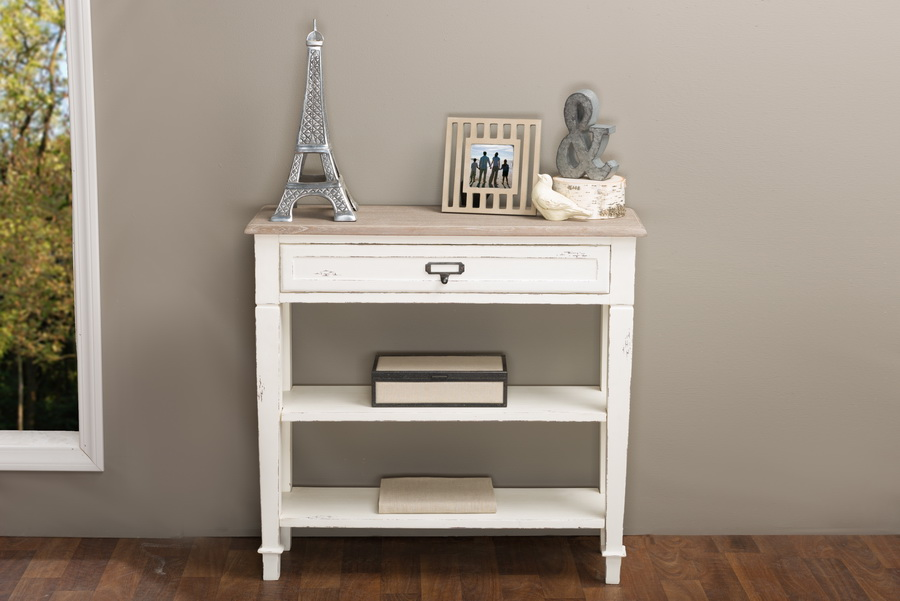 baxton studio dauphine traditional french accent console table1 drawer bsochr10vmm bc