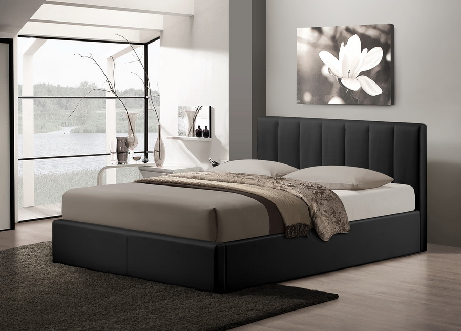 Baxton studiotemplemore black leather contemporary queen size bed affordable modern furniture - Benefits of contemporary queen bed ...