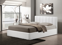 Baxton Studio Templemore White Leather Contemporary Queen-Size Bed Affordable modern furniture in Chicago,Templemore White Leather Contemporary Queen-Size Bed, Bedroom Furniture Chicago