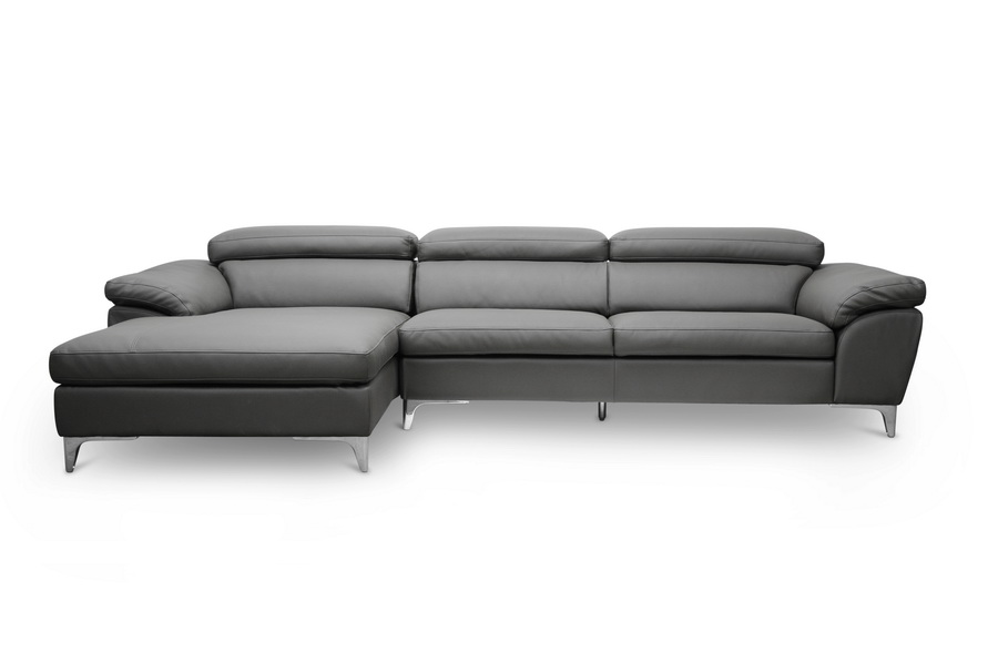 Charmant Baxton Studio Voight Gray Modern Sectional Sofa With Left Facing Chaise