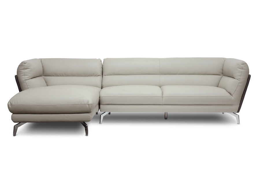 Baxton Studio Quall Gray Modern Sectional Sofa With Left Facing Chaise