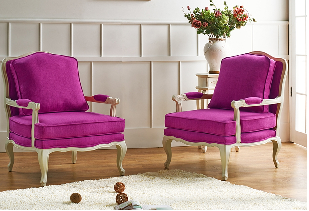 Baxton Studio Antoinette Classic Antiqued Pink Fabric French Accent Chair Affordable Modern