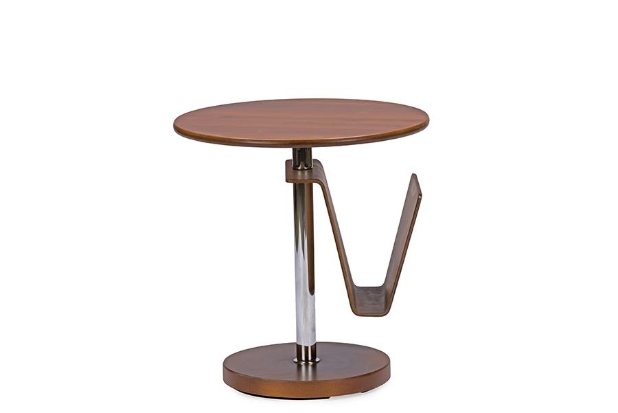Baxton Studio Piante Walnut Accent Table With Magazine Holder    BSOAking 23819 MDF ...