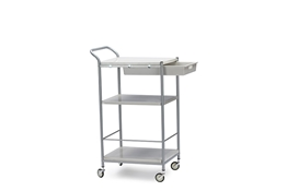 Baxton Studio Bisanti Chrome Steel Trolley Cart with drawer  Cart/Kitchen Cart/Service Cart/Foldable Cart/Kitchen Storage Cart/ Kitchen Storage Freestanding