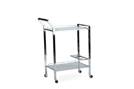 Baxton Studio Contino Chrome Finish Metal Tempered Glass Serving Trolley   Cart/Kitchen Cart/Service Cart/Foldable Cart/Kitchen Storage Cart/ Kitchen Storage Freestanding