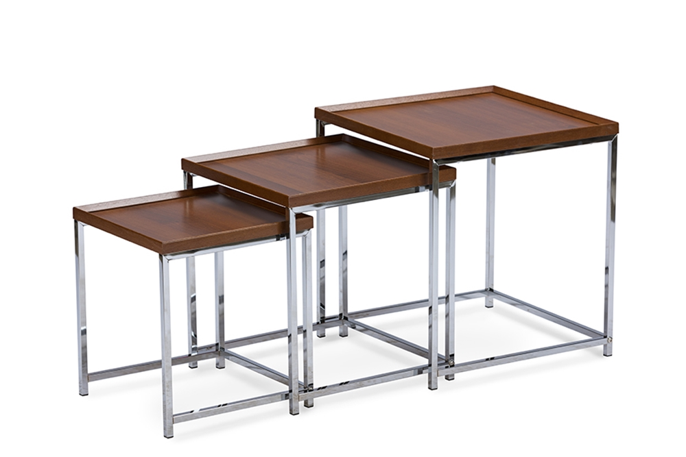 Baxton Studio Adelina Piece Wood Top Chrome Base Nesting Table