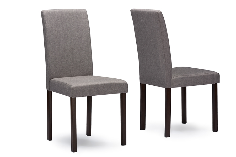 Baxton Studio Andrew Contemporary Espresso Wood Grey Fabric Dining Chairs