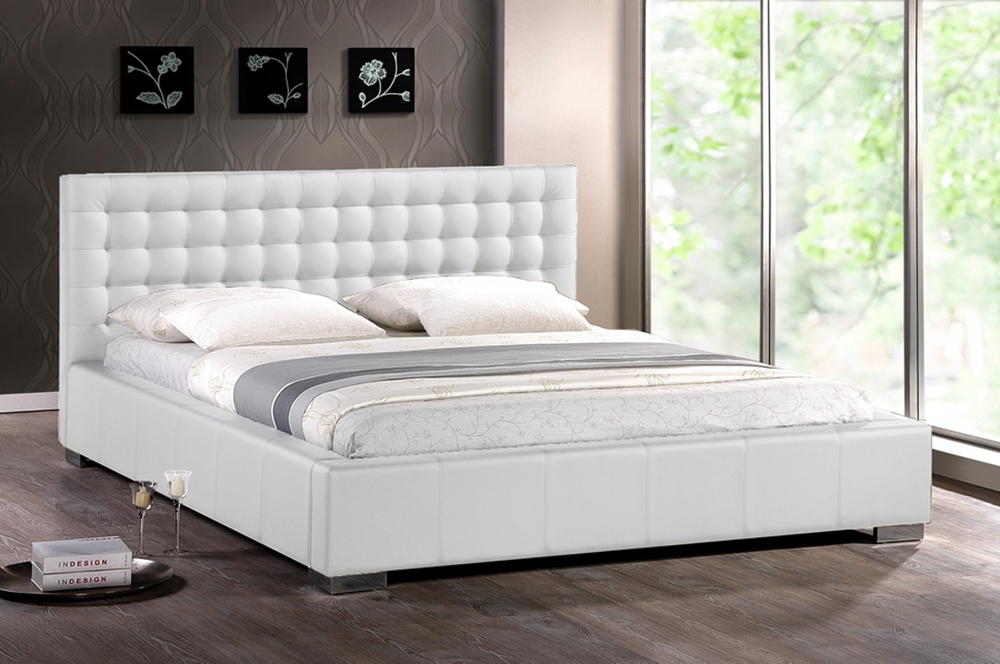 ... Baxton Studio Madison White Modern Bed with Upholstered Headboard - Full  Size - BSOBBT6183-White - Baxton Studio Madison White Modern Bed With Upholstered Headboard