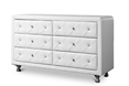 Baxton Studio Luminescence Wood Contemporary White Upholstered Dresser Affordable modern furniture in Chicago, Luminescence Wood Contemporary White Upholstered Dresser, Bedroom Furniture Chicago