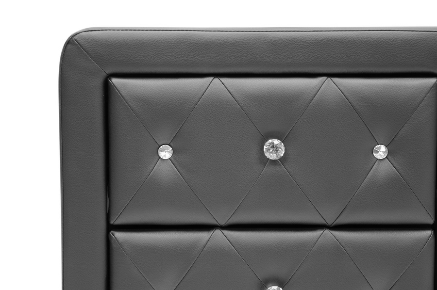 Stella Crystal Tufted Black Upholstered Modern Nightstand