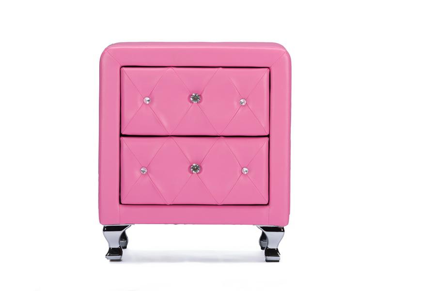 Baxton StudioStella Crystal Tufted Pink Leather Modern Nightstand ...