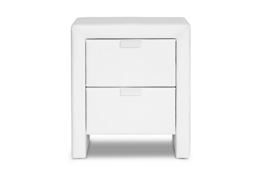 frey white upholstered modern nightstand | affordable modern