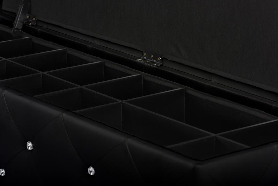 baxton studio seine black leather storage ottoman bench - Black Storage Ottoman