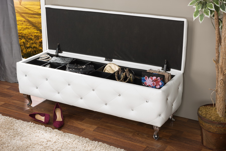 Baxton StudioSeine White Leather Contemporary Storage Ottoman