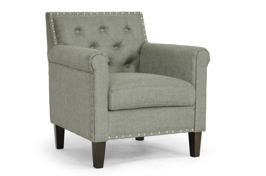 Attractive Baxton Studio Thalassa Gray Linen Modern Arm Chair   BSOBBT5114 Grey DE800 CC  ...