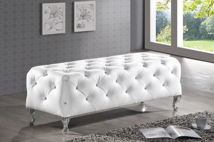 white tufted bench