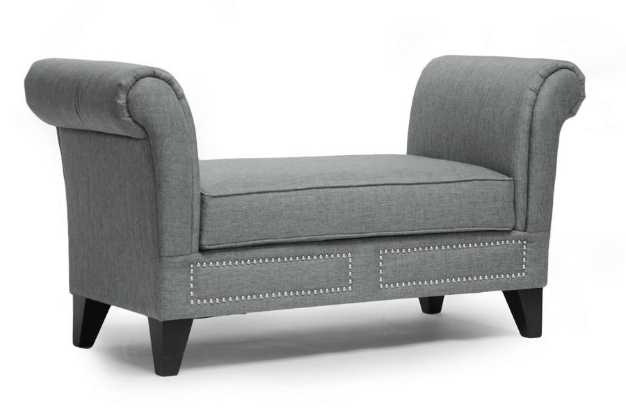 Baxton Studio Marsha Gray Linen Modern Scroll Arm Bench Affordable Modern Furniture In Chicago