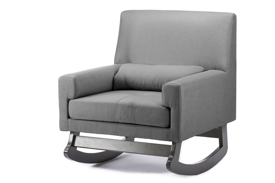 Baxton Studioimperium Grey Linen Contemporary Rocking Chair With