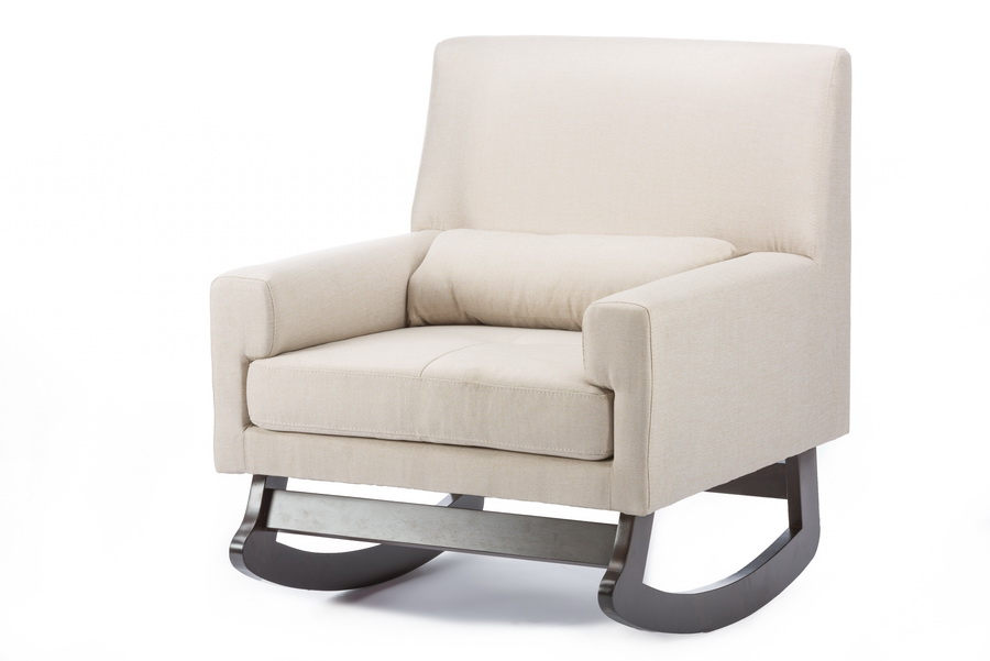 ... Baxton Studio Imperium Light Beige Linen Contemporary Rocking Chair  With Pillow   BSOBBT5121 Light Beige ...
