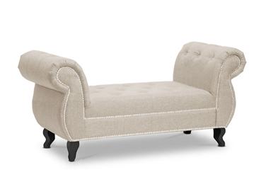 Baxton Studio Norwich Light Beige Linen Bench Affordable Modern Furniture In Chicago