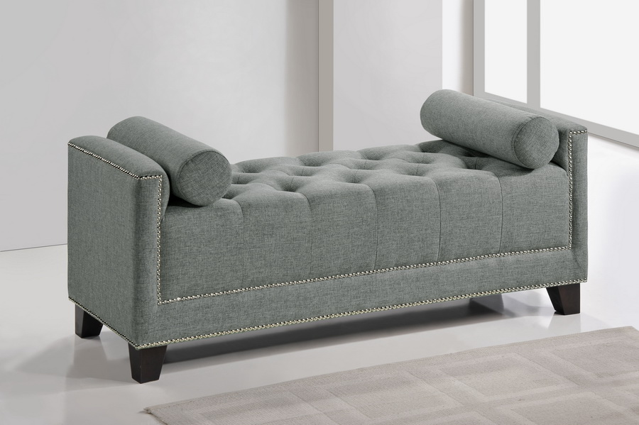 baxton studio hirst gray platform bed king size with bench