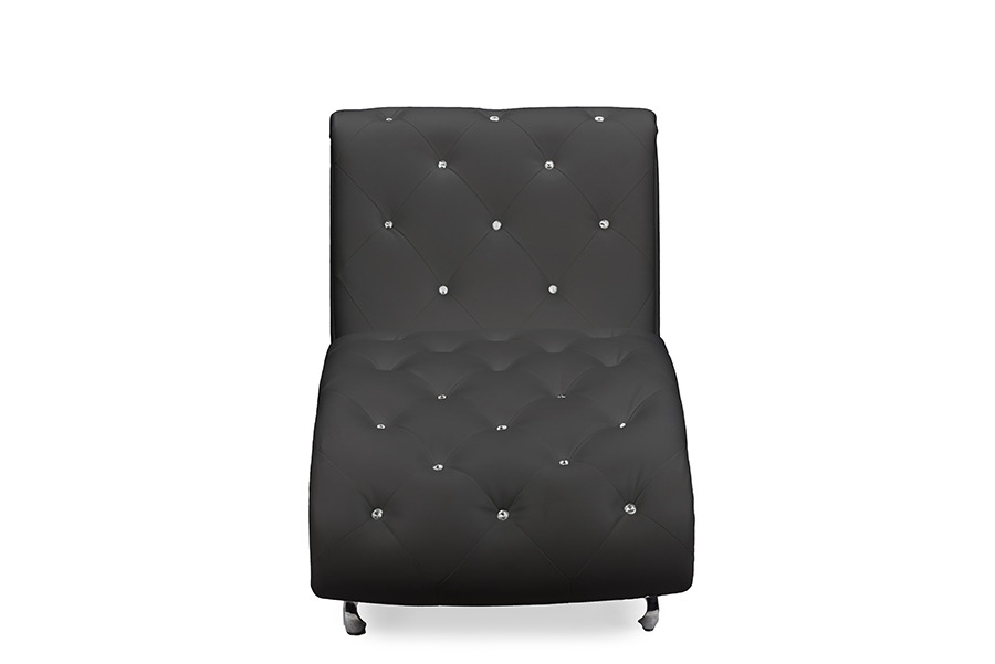 baxton studio pease black faux leather upholstered crystal button tufted chaise lounge living room furniture
