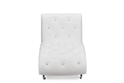 Baxton Studio Pease Contemporary White Faux Leather Upholstered Crystal Button Tufted Chaise Lounge Living Room Furniture/White/Chaise Lounge/Modern Furniture/Faux Leather Upholstery