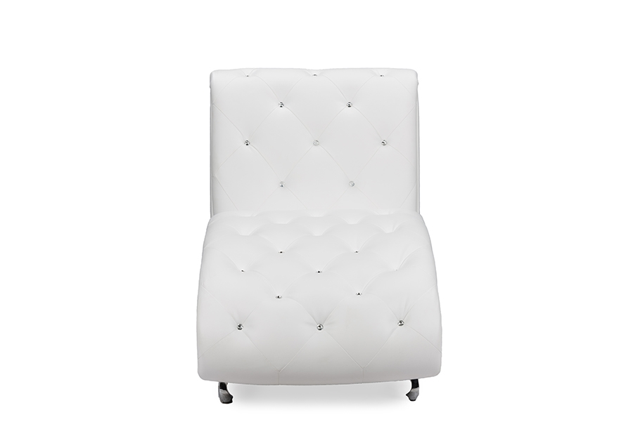 Baxton Studio Pease Contemporary White Faux Leather Upholstered Crystal  Button Tufted Chaise Lounge   BSOBBT5187  ...