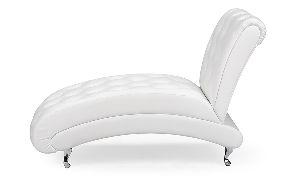 ... Baxton Studio Pease Contemporary White Faux Leather Upholstered Crystal Button Tufted Chaise Lounge - BSOBBT5187- ...  sc 1 st  Baxton Studio Outlet : baxton studio chaise - Sectionals, Sofas & Couches