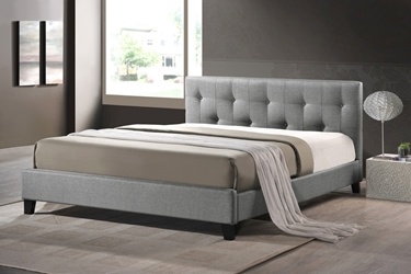 Baxton Studio Annette Gray Linen Modern Bed with Upholstered Headboard - Queen Size affordable modern furniture in Chicago, Annette Gray Linen Modern Bed with Upholstered Headboard - Queen Size,Bar Furniture Chicago
