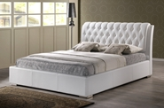 Baxton Studio Bianca White Modern Bed with Tufted Headboard - Full Size Affordable modern furniture in Chicago, Baxton Studio Bianca White Modern Bed with Tufted Headboard - Full Size,  Bedroom Furniture, Chicago