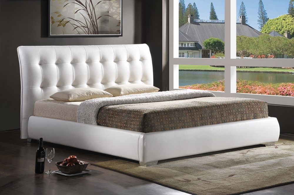baxton studio jeslyn white modern bed with tufted headboard king size bsobbt6284 white - Tufted Bed Frame King