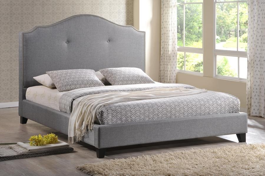 Baxton Studio Marsha Scalloped Gray Linen Modern Bed With