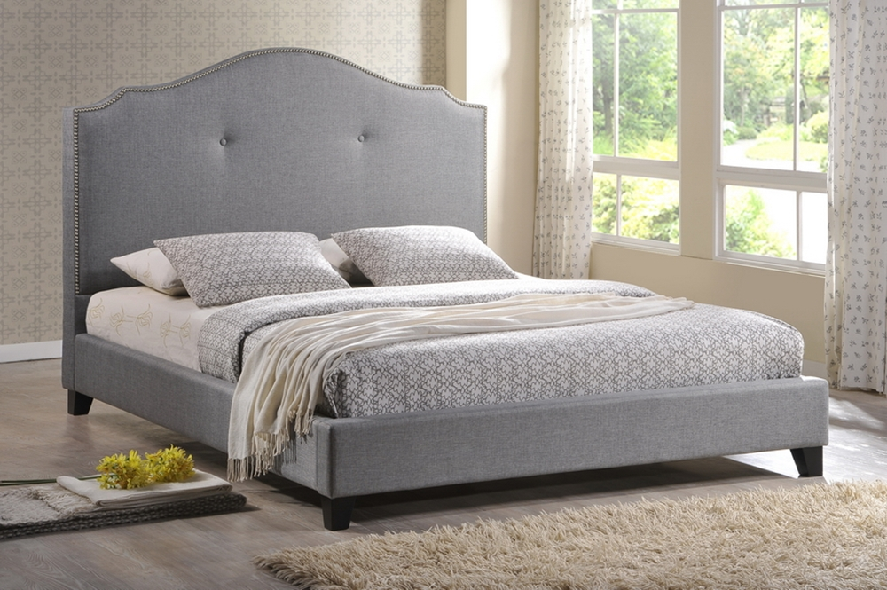 baxton studio marsha scalloped gray linen modern bed with upholstered headboard king size. Black Bedroom Furniture Sets. Home Design Ideas