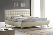 Baxton Studio Elizabeth Pearlized Almond Modern Bed with Upholstered Headboard - King Size Affordable modern furniture in Chicago, Baxton Studio Elizabeth Pearlized Almond Modern Bed with Upholstered Headboard - King Size,  Bedroom Furniture, Chicago