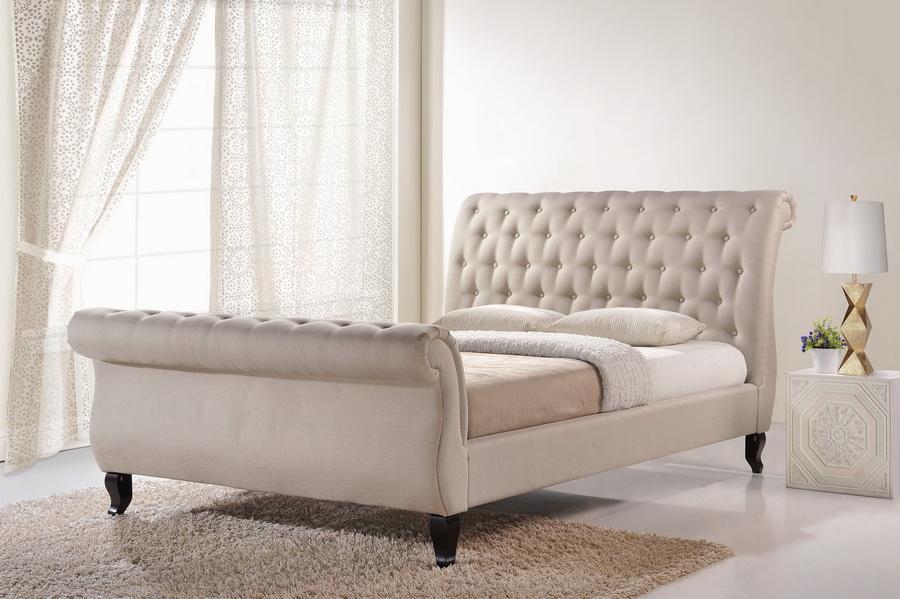 Baxton Studio Antoinette Light Beige Modern Platform Bed King Affordable Modern Furniture In