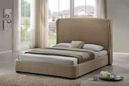 Baxton Studio Sheila Tan Linen Modern Bed with Upholstered Headboard - King Size Affordable modern furniture in Chicago, Baxton Studio Sheila Tan Linen Modern Bed with Upholstered Headboard - King Size,  Bedroom Furniture, Chicago