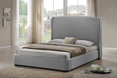 Baxton Studio Sheila Gray Linen Modern Bed with Upholstered Headboard - King Size Affordable modern furniture in Chicago, Baxton Studio Sheila Gray Linen Modern Bed with Upholstered Headboard - King Size,  Bedroom Furniture, Chicago