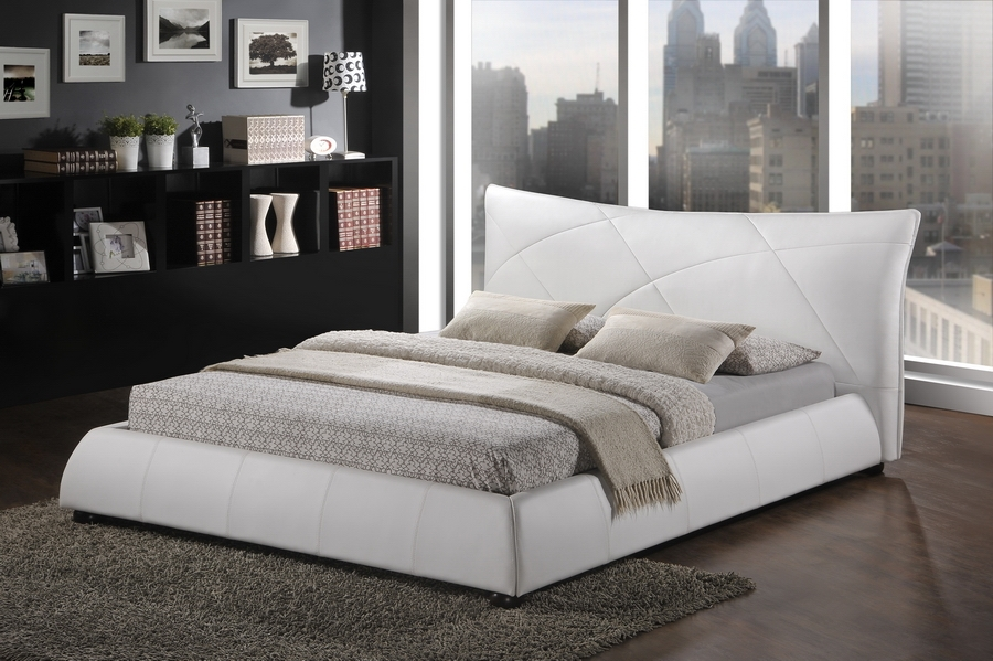 Corie White Modern Platform Bed Queen Size Affordable Modern