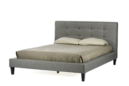Baxton Studio Quincy Grey Linen Full Size Platform Bed Affordable modern furniture in Chicago,Quincy Grey Linen Full Size Platform Bed, Bedroom Furniture Chicago