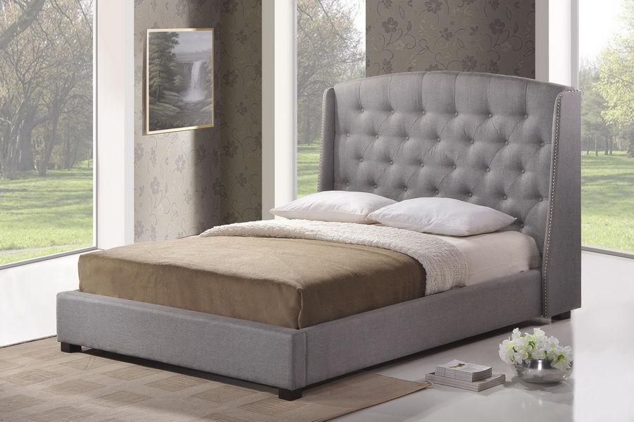 Ipswich Gray Linen Modern Platform Bed - King Size | Affordable ...