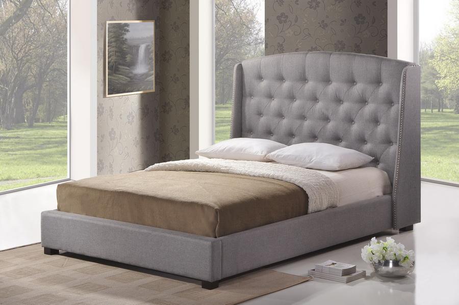 baxton studio ipswich gray linen modern platform bed king size - Modern Platform Bed