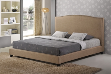 Baxton Studio Aisling Dark Beige Fabric Platform Bed-King Size affordable modern furniture in Chicago, Aisling Dark Beige Fabric Platform Bed ?C King Size, Bedroom Furniture, Chicago