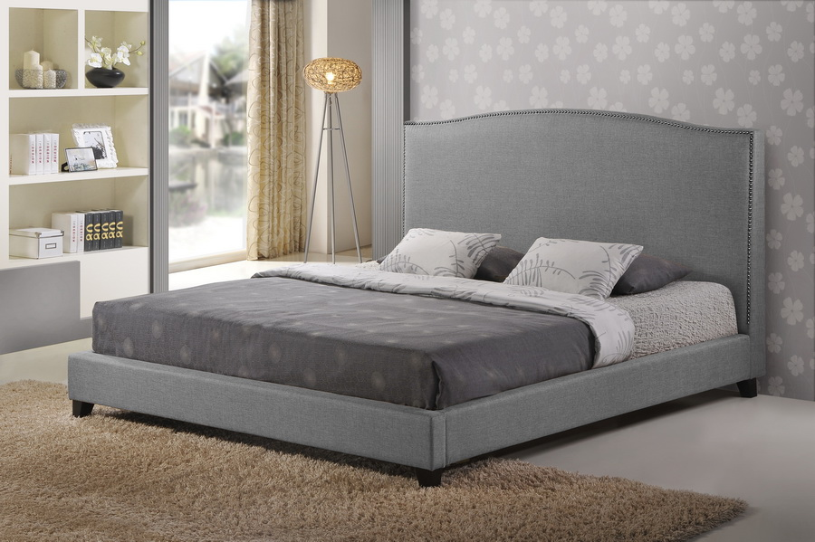 Aisling Gray Fabric Platform Bed King Size Affordable Modern Furniture In
