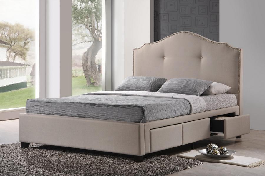 Armeena Beige Linen Modern Storage Bed With Upholstered
